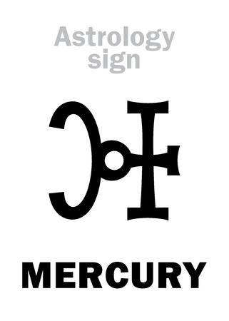 fortunetelling: Astrology Alphabet: MERCURY, minor planet. Hieroglyphics character sign (qabbalistic symbol).