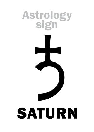 plumbum: Astrology Alphabet: SATURN, classic major social planet. Hieroglyphics character sign (single symbol).