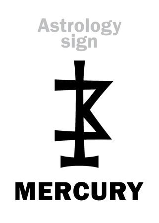Astrology Alphabet: MERCURY, minor planet. Hieroglyphics character sign (ancient medieval symbol).