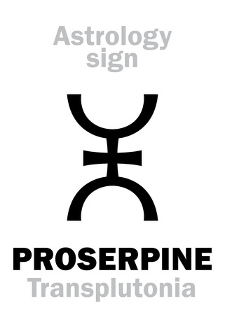 Astrology Alphabet: PROSERPINE (TransplutoniaPersephona), supreme hypothetic superdistant planet (behind Pluto). Hieroglyphics character sign (single symbol).
