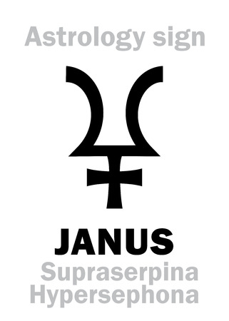 hermetic: Astrology Alphabet: JANUS (SupraserpinaHypersephone), 12th hypothetic giant dual planet (behind Pluto and Proserpine). Hieroglyphics character sign (single symbol). Illustration