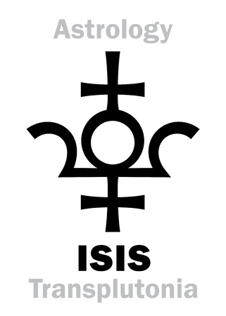 Astrology Alphabet: ISIS (Transplutonia), supreme hypothetic planet (behind Pluto). Hieroglyphics character sign (original single symbol).