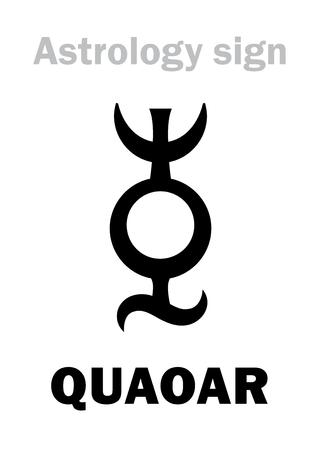 Astrology Alphabet: QUAOAR, Large massive transneptunian planetoid (TNO). Hieroglyphics character sign (single symbol).