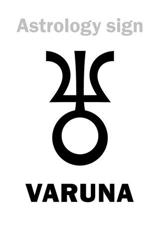 vedic: Astrology Alphabet: VARUNA, massive trans-neptunian planetoid. Hieroglyphics character sign (single symbol).