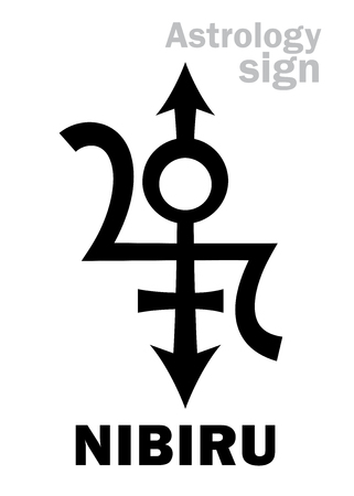 disaster: Astrology Alphabet: NIBIRU, Orphan planet, Rogue planet of Anunnaki (Aliens, the Ancient astronauts). Hieroglyphics character sign (original single symbol). Illustration