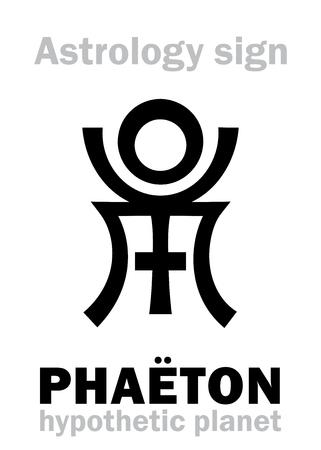 firmament: Astrology Alphabet: PHAETON, hypothetic destroyed planet. Hieroglyphics character sign (single symbol).