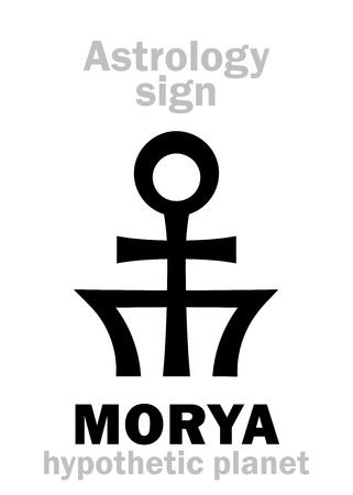 hermetic: Astrology Alphabet: MORYA, hypothetic transplutonian planet. Hieroglyphics character sign (single symbol). Illustration