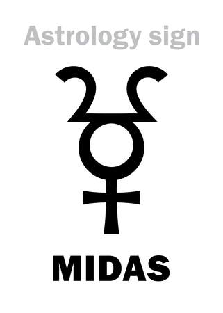 Astrology Alphabet: MIDAS, hypothetical planetoid. Hieroglyphics character sign (single symbol).