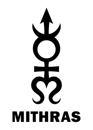 hermetic: Astrology Alphabet: MITHRAS, massive trans-neptunian planetoid. Hieroglyphics character sign (single symbol). Illustration