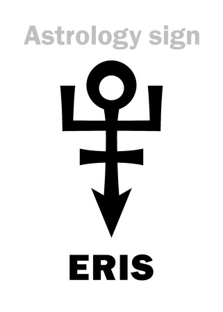 strife: Astrology Alphabet: ERIS, most massive and second-largest superdistant dwarf planet. Hieroglyphics character sign (single symbol).