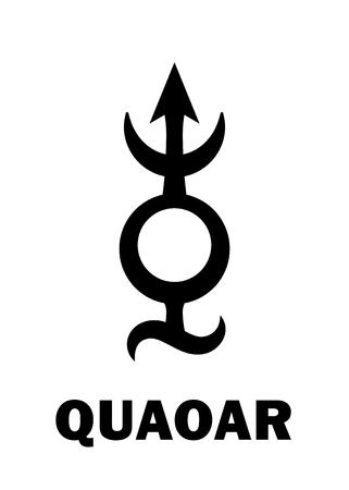 Astrology Alphabet: QUAOAR (Transneptune), massive planetoid. Hieroglyphics character sign (single symbol). Illustration