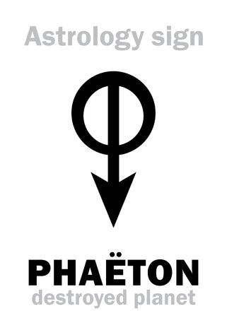 ecliptic: Astrology Alphabet: PHAËTON, hypothetic destroyed planet (between Mars and Jupiter, now Asteroids belt). Hieroglyphics character sign (single symbol).