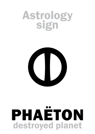 Astrology Alphabet: PHA�TON (Juno), hypothetic destroyed planet (between Mars and Jupiter, now Asteroids belt). Hieroglyphics character sign (single symbol).