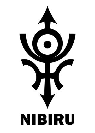 Astrology Alphabet: Orphan planet NIBIRU, The Rogue planet of Anunnaki (Aliens, the Ancient astronauts). Hieroglyphics character sign (original single symbol).