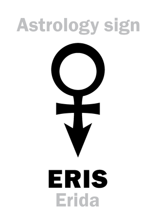 strife: Astrology Alphabet: ERIS (Erida), most massive and second-largest superdistant dwarf planet. Hieroglyphics character sign (single symbol).
