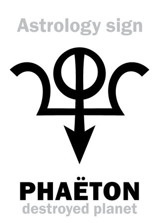 Astrology Alphabet: PHAETON, hypothetic destroyed planet (between Mars and Jupiter, now Asteroids belt). Hieroglyphics character sign (original single symbol).