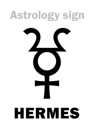 Astrology Alphabet: HERMES, hypothetic planet. Hieroglyphics character sign (single symbol).