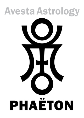 vedic: Astrology Alphabet: PHAËTON (FaridonFereydun?raetaona), Avestian vedic astral planet. Hieroglyphics character sign (single symbol).
