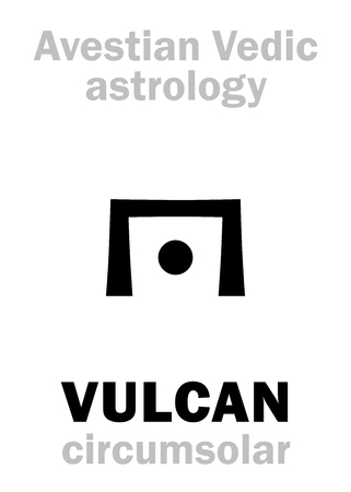 hermetic: Astrology Alphabet: VULCAN, Avestian vedic astral circumsolar planet. Hieroglyphics character sign (single symbol).