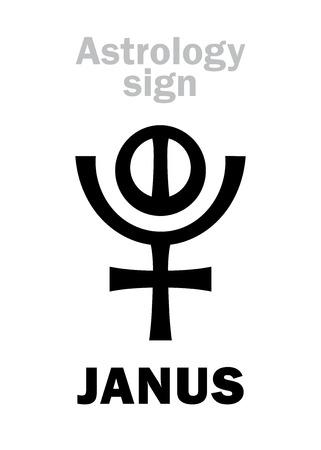 Astrology Alphabet: JANUS, 12th hypothetic giant planet (behind Pluto). Hieroglyphics character sign (variation symbol).