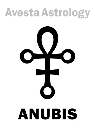 astral: Astrology Alphabet: ANUBIS, Avestian astral planet-conductor. Hieroglyphics character sign (single symbol).