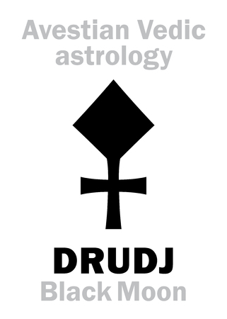 underside: Astrology Alphabet: DRUDJ (Black Moon), Avestian vedic astral moon. Hieroglyphics character sign (single symbol).