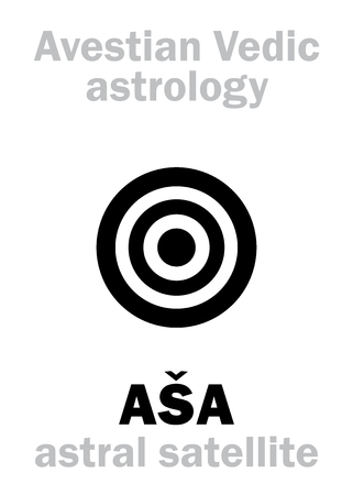 Astrology Alphabet: AŠA (Asha), IIIrd Avestian vedic astral satellite of Earth. Hieroglyphics character sign (single symbol).