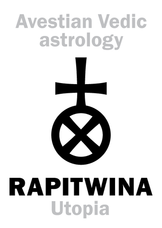 astral: Astrology Alphabet: RAPITWINA (Utopia), Avestian vedic astral faraway tellurian planet. Hieroglyphics character sign (single symbol). Illustration