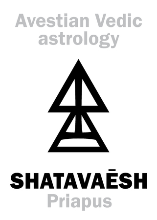 virile: Astrology Alphabet: SHATAVAESH (Priapus), Avestian vedic astral male planet. Hieroglyphics character sign (single symbol).