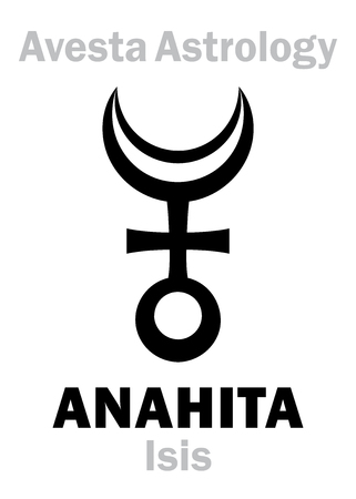 astral: Astrology Alphabet: ANAHITA (Isis), Avestian vedic astral planet. Hieroglyphics character sign (single symbol).