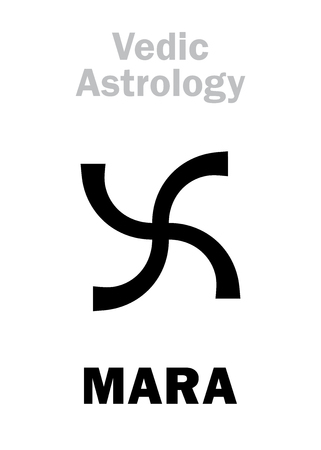 hermetic: Astrology Alphabet: MARA, Vedic astral planet. Hieroglyphics character sign (single symbol). Illustration