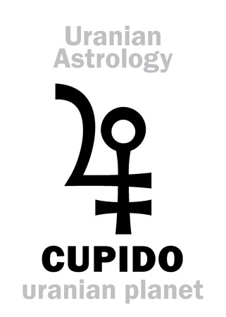 hermetic: Astrology Alphabet: CUPIDO, Uranian planet (trans-neptunian point). Hieroglyphics character sign (single symbol).
