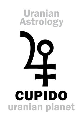 Astrology Alphabet: CUPIDO, Uranian planet (trans-neptunian point). Hieroglyphics character sign (single symbol).