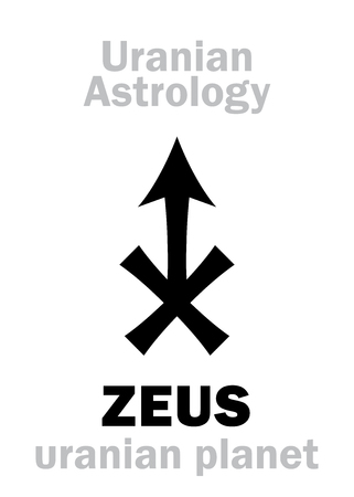 hermetic: Astrology Alphabet: ZEUS, Uranian planet (trans-neptunian point). Hieroglyphics character sign (single symbol). Illustration