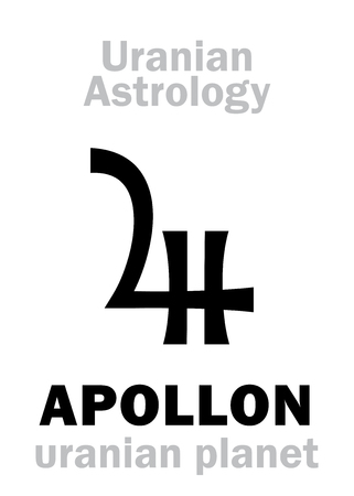hermetic: Astrology Alphabet: APOLLON, Uranian planet (trans-neptunian point). Hieroglyphics character sign (single symbol).