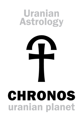 Astrology Alphabet: CHRONOS (Kronos), Uranian planet (trans-neptunian point). Hieroglyphics character sign (single symbol). Illustration