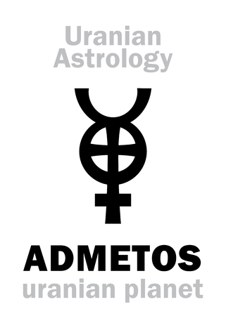 hermetic: Astrology Alphabet: ADMETOS, Uranian planet (trans-neptunian point). Hieroglyphics character sign (single symbol).