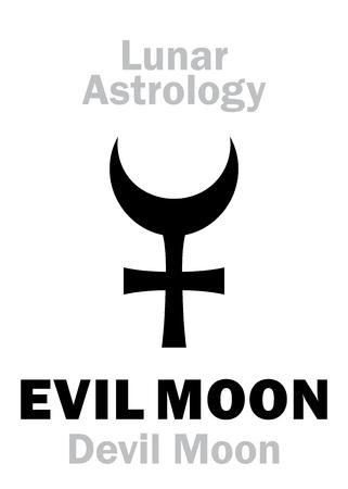 Astrology Alphabet: EVIL MOON (Devil Moon), fictive moon orbit point. Hieroglyphics character sign (single symbol).