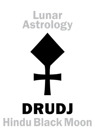underside: Astrology Alphabet: DRUDJ (Black Moon), moon orbit point in Hindu astrology. Hieroglyphics character sign (single symbol).