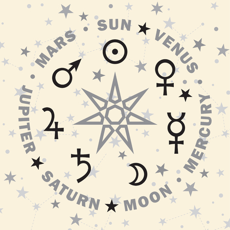 «Septener». The Ancient Star of Babylonian magicians. Seven classical planets of Astrology. (Selenium version).