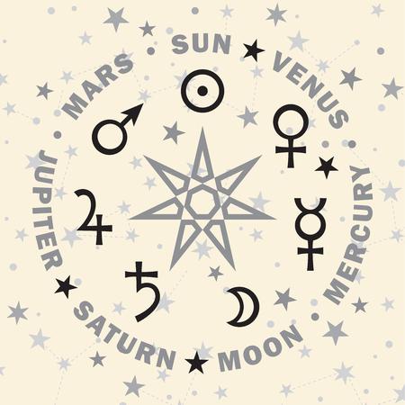 «Septener». La antigua estrella de los magos babilonios. Siete planetas clásicos de Astrología. (Versión de selenio).