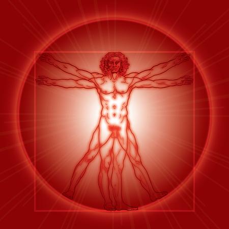leonardo da vinci: «HOMO VITRUVIANO». The Vitruvian man  Leonardos man. Detailed drawing on basis of artwork masterpiece by Leonardo da Vinci, ancient manuscript performed by him circa 1490. (Fiery Red Radiance version).
