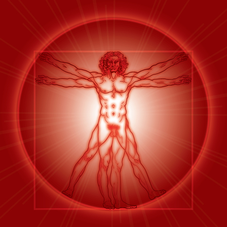 «HOMO VITRUVIANO». The Vitruvian man  Leonardos man. Detailed drawing on basis of artwork masterpiece by Leonardo da Vinci, ancient manuscript performed by him circa 1490. (Fiery Red Radiance version). Illustration