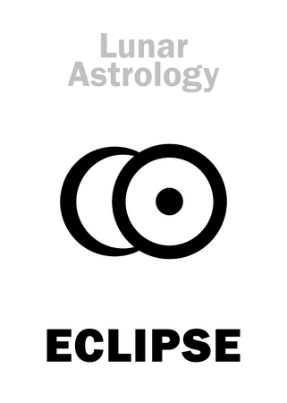 Astrology Alphabet: ECLIPSE (conjunction of The Sun and Moon), astronomical phenomenon. Hieroglyphics character sign (single symbol).