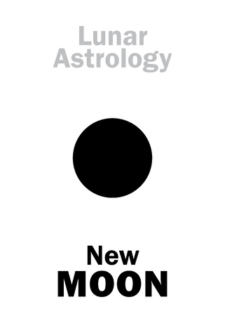 underside: Astrology Alphabet: New MOON (Lunar appearance). Hieroglyphics character sign (single symbol).