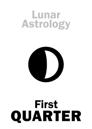 underside: Astrology Alphabet: First QUARTER of MOON (Lunar phase). Hieroglyphics character sign (single symbol).