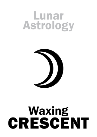 luminary: Astrology Alphabet: Waxing CRESCENT (Moon increase). Hieroglyphics character sign (single symbol).