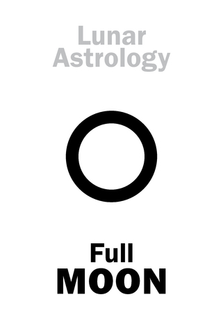 phase: Astrology Alphabet: Full MOON (Lunar event). Hieroglyphics character sign (single symbol). Illustration