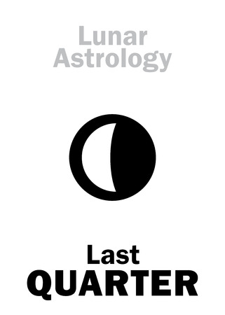 phase: Astrology Alphabet: Last QUARTER of MOON (Lunar phase). Hieroglyphics character sign (single symbol). Illustration