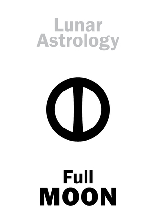 Astrology Alphabet: Full MOON (Lunar phase). Hieroglyphics character sign (single symbol). Illustration